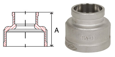 Pipe Fitting Stainless Steel Socket Weld Pipe Reducing Couplings 150 PSI