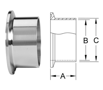 Stainless Steel Sanitary Clamp Fittings 14WMP Short Weld Ferrules